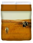Curious Ponys  Duvet Cover by Jeff Swan