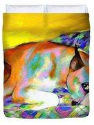 Cute Boxer Dog portrait painting Duvet Cover by Svetlana Novikova