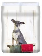 Cute Dog Washtub Duvet Cover by Edward Fielding
