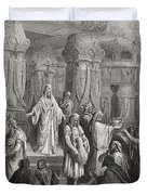 Cyrus Restoring the Vessels of the Temple Duvet Cover by Gustave Dore