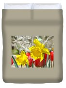 Daffodil Flowers Art Prints Spring Daffodils Red Tulip Garden Duvet Cover by Baslee Troutman