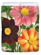 Dahlia Coccinea from a Begian book of flora. Duvet Cover by Philip Ralley