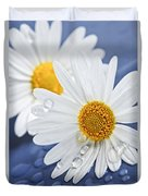 Daisy Flowers With Water Drops Duvet Cover by Elena Elisseeva
