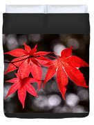 Dancing Japanese Maple Duvet Cover by Rona Black