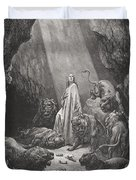 Daniel In The Den Of Lions Duvet Cover by Gustave Dore