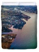 Daugawa River. Riga. Latvia. Rainbow Earth Duvet Cover by Jenny Rainbow