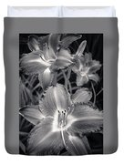 Day Lilies In Black And White Duvet Cover by Adam Romanowicz
