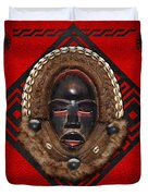 Dean Gle Mask By Dan People Of The Ivory Coast And Liberia On Red Leather Duvet Cover by Serge Averbukh