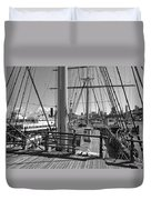 Deck Of Balclutha 3 Masted Schooner - San Francisco Duvet Cover by Daniel Hagerman