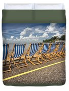 Deckchairs At Southend Duvet Cover by Avalon Fine Art Photography