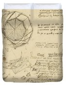 Decomposition Of Circle Into Bisangles From Atlantic Codex Duvet Cover by Leonardo Da Vinci
