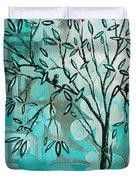 Decorative Abstract Floral Birds Landscape Painting Bird Haven I By Megan Duncanson Duvet Cover by Megan Duncanson