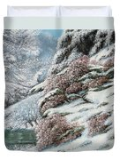 Deer In A Snowy Landscape Duvet Cover by Gustave Courbet