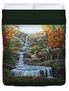Deer Painting - Tranquil Deer Cove Duvet Cover by Crista Forest