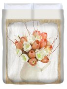 Deluxe Peach Tulips Duvet Cover by Debra  Miller