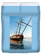 Derelict Faux Tall Ship Duvet Cover by Trever Miller