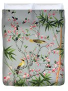 Detail Of The 18th Century Wallpaper In The Drawing Room Photograph Duvet Cover by John Bethell
