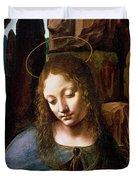 Detail Of The Head Of The Virgin Duvet Cover by Leonardo Da Vinci