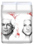 Dexter and Debra Morgan Duvet Cover by Olga Shvartsur