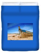 Dilapidated Boat At Ferragudo Beach Algarve Portugal Duvet Cover by Amanda And Christopher Elwell