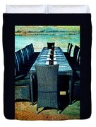 Dinner By The Sea Duvet Cover by Georgia Fowler