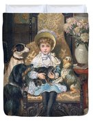 Doddy and her Pets Duvet Cover by Charles Trevor Grand
