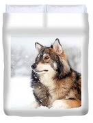 Dog In The Snow Duvet Cover by Grant Glendinning