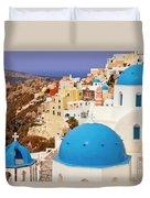 Domes Of Santorini Duvet Cover by Brian Jannsen