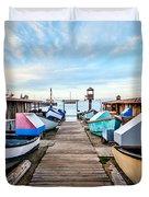 Dory Fishing Fleet Newport Beach California Duvet Cover by Paul Velgos