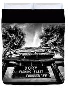 Dory Fishing Fleet Sign Picture In Newport Beach Duvet Cover by Paul Velgos