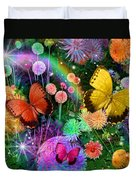 Double Dahlia Flower Party Duvet Cover by Alixandra Mullins
