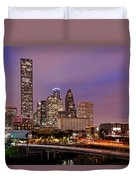 Downtown Houston Texas Skyline Beating Heart Of A Bustling City Duvet Cover by Silvio Ligutti