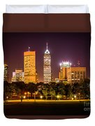Downtown Indianapolis Skyline At Night Picture Duvet Cover by Paul Velgos