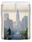 Downtown Philadelphia - Benjamin Franklin Parkway Duvet Cover by Simon Wolter