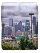 Downtown Seattle From Kerry Park Duvet Cover by Allen Beatty