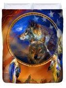 Dream Catcher - Wolf Dreams Patriotic Duvet Cover by Carol Cavalaris