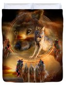 Dream Catcher - WolfLand Duvet Cover by Carol Cavalaris