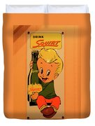 Drink Squirt Sign Duvet Cover by Thomas Woolworth