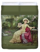 Drinking Coffee And Reading In The Garden Duvet Cover by Edward Killingworth Johnson