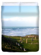Droskyn Sundial Perranporth Duvet Cover by Terri  Waters