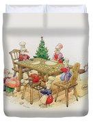 Ducks Christmas Duvet Cover by Kestutis Kasparavicius