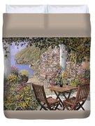 due bicchieri a Positano Duvet Cover by Guido Borelli