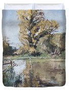 Early Autumn On The River Test Duvet Cover by Caroline Hervey-Bathurst