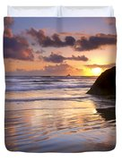 Ecola Sunset Duvet Cover by Mike  Dawson