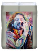 Eddie Vedder In Pink And Blue Duvet Cover by Joshua Morton
