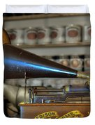 Edison Home Phonograph with Morning Glory Horn Duvet Cover by Christine Till