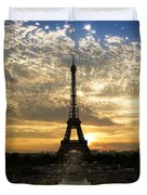 Eiffel Tower At Sunset Duvet Cover by Debra and Dave Vanderlaan