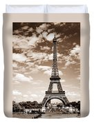 Eiffel Tower In Sepia Duvet Cover by Elena Elisseeva