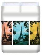 Eiffel Tower Paris France Trio Duvet Cover by Patricia Awapara
