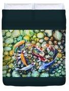 Eight Koi Fish Playing With Bubbles Duvet Cover by Zaira Dzhaubaeva